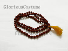 RUDRAKSHA JAPA MALA ROSARY 8 MM BEADS SIZE NECKLACE HINDU PRAYER 108 +1 BEAD YOG