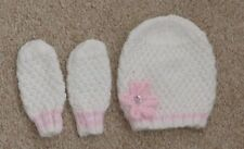 fdc0d0d449e hand knitted baby girls hat and mitten set white newborn