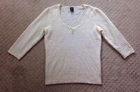 """Women's Gap Ivory Open Knit 3/4"""" Sleeve Scoop Neck Sweater-size M"""