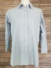 CAbi Women's Boyfriend Shirt Light Blue/White Striped Button Up 3/4 Sleeves M