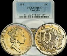 1986 Australia 10 Cents PCGS MS67 Lightly Toned