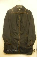 Ladies Designer Dennis Basso Black Raincoat With Faux Croc Trim XS  NWT NEW
