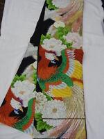 Black Silk Japanese ROKUTSUU FUKURO OBI w/KIKU, BOTAN, HOUOU D274