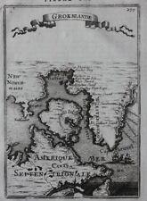 Original antiguo mapa Groenlandia, Baffin Bay, Davis estrecho, Canadá, Mallet, 1683