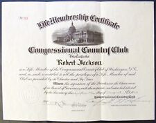 CONGRESSIONAL COUNTRY CLUB LIFE MEMBERSHIP CERTIFICATE 1924 SIGNED GOLF BETHESDA