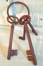 Skeleton Key 4 Ring Black Cast Iron Rustic Vintage New 6 1/2 inches
