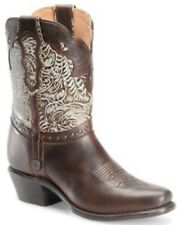 Womens Sonora Jamie Turquoise Tooled Boots Brown Short Mid-Calf Leather Sz 7 B