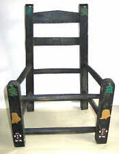 """Vintage Wooden Child's Chair Frame Painted Black 17"""" tall primitive  FREE SH"""