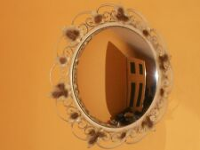 Lovely Convex Vintage Round Wall Mirror With Iron Floral Frame