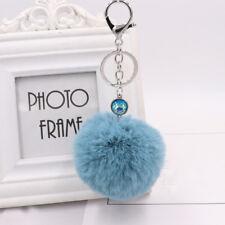Ballet Dancing Girl Pendant Chic Fur Ball Keychain Decor Bag Plush Car Key Ring Blue