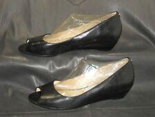 Michael Michael Kors women's black leather open toe wedge pump shoes size 10 M