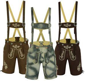 Mens Bavarian LEDERHOSEN Leather Shorts with Matching Suspenders