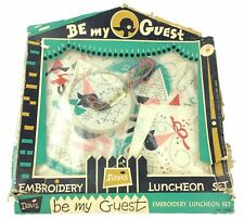 VTG Be My Guest Davis Embroidery Luncheon Set 460 In Box