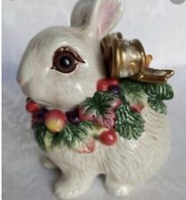 Fitz and Floyd Snowy Woods Small Lidded Bunny Rabbit Box Nib
