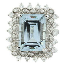7.60 Carat Genuine Aquamarine 18K Solid White Gold Luxury Diamond Ring