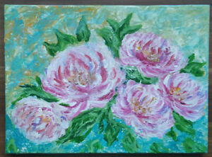 Original Acrylic Pink Flowers Painting, Peony Artwork Gift, Room Home Decoration