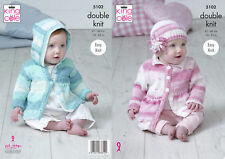 King Cole Baby Double Knitting Pattern Easy Knit Hooded Collared Coat & Hat 5102