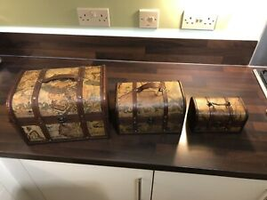 This Set of 3 Old Map Chest