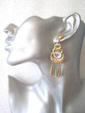Gold Earrings with Triple Hoop and Clear Faceted Centre - Vintage Retro