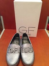 BRAND NEW GF FERRE silver leather loafers with GF crystal logo, size 33 UK 1.5