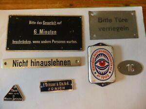 7 small original European railway signs, metal and enamel.