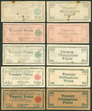 5 pcs. US Philippines 20 Pesos FREE NEGROS WW2 Emergency Currency 1943-1945