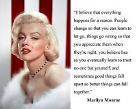 """Marilyn Monroe """"I believe"""" Famous Quote 11 x 14 Photo Picture Poster Photograph"""