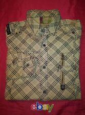 FUSAI Jeans Men SZ L Snap Button TAN PLAID CHECK Military Style CARGO Shirt NEW!