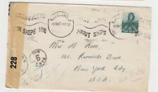 """SOUTH AFRICA 1942 """"POSTAGE DUE"""" CENSOR COVER TO USA, 1½d+6c DUE RATED (SEE BELOW"""