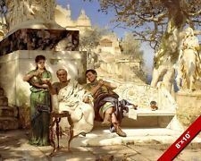 ANCIENT ROMAN MEN IN REPOSE SIESTA REST PAINTING ROME ART REAL CANVAS PRINT