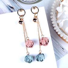 Flower bud drop dangle earrings pink blue UK