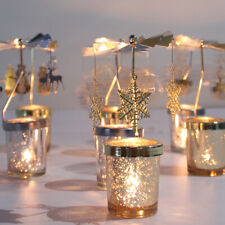 Christmas Decor Tea Light Candle Holder Rotary Candlesticks Metal Xmas Home