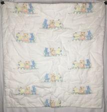 Handmade Baby Quilt Bed Blanket Blue Bunny Rabbit Duck Teddy Bear On Train Soft