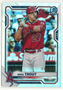 2021 Bowman Chrome #54 Mike Trout Refractor /499 Los Angeles Angels