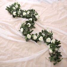 Artificial Rose Garland Silk Florals Fake Cane Ivy Wedding Party String Hanging
