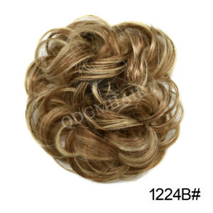 Natural Soft Curly Messy Rose Bun Hair Piece Extensions Updo Scrunchie Ponytail