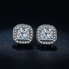 18K White Gold Plated Earrings Cubic CZ Gem Wedding Stud Earrings For Women