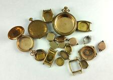 ANTIQUE 20yr 14K 10k GOLD FILLED WRIST POCKET WATCH CASES -  162 GRAMS SCRAP
