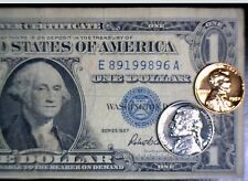 1957 Silver Certificate $1 Note + Lincoln .01&.05 Jefferson PRF 2 Coins  NO RES.