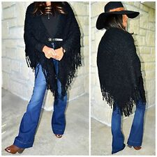 Ladies BOHO Black Buckle Front Fringe Crochet Poncho Sweater Double Thick S-XL