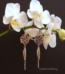 Flower Feather Pierced Dangle Stainless Steel Silver Rhinestone Chain Earrings