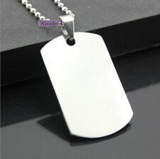 Large Size Titanium Surgical Steel Engravable Dog Tag Army Pendant Necklace P003