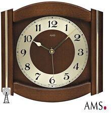 AMS 44 Horloge murale radio-pilotée Verre minéral bois massif Montre Funky H/B