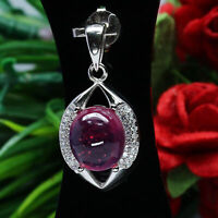 NATURAL 8 X 9 mm. CABOCHON RED RUBY & WHITE CZ PENDANT 925 STERLING SILVER