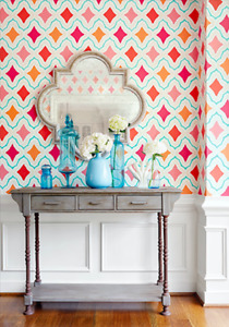 Thibaut 'Cruising' wallpaper from Trade Routes collection Orange/Pink colour NEW