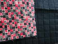 """Pre-Quilted Tan,red & black checks Cotton on Black Felt 22"""" wide x 17.5"""" long"""