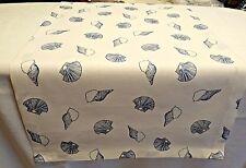 Tischläufer Tischdecke Tischset 40x137cm Maritim Muschel Weiß blau Leinen/Cotton