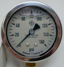 "McDaniel Controls 0-160PSI 1/4"" NPT Bottom Mount Glycerin Filled Gauge J6E"