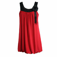 Womens Fancy Sleeveless Tunic Top Boho Retro 1920s Style Party Bubble Hem Dress