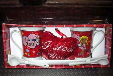 """Set van 2 porcelein tassen """"I love you"""" met porceleine lepeltjes - nieuw"""